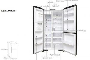 Kích Thước Các Dòng Tủ Lạnh 2 Cánh Side By Side, Hitachi, Samsung